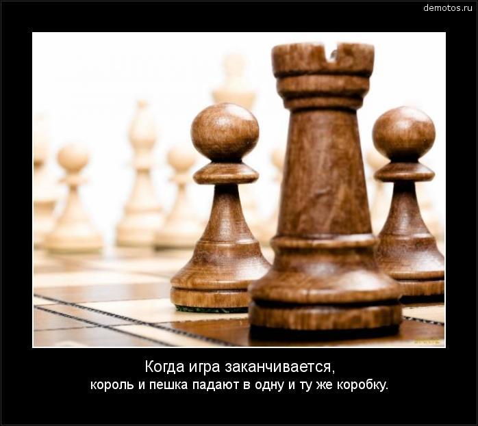 Когда игра заканчивается, король и пешка падают в одну и ту же коробку. #демотиватор